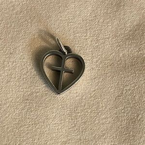 Retired James Avery heart with  Cross charm